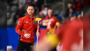Team Newfoundland skip Brad Gushue takes on Team Nunavut at the Brier in Kingston, Ont., on Tuesday, March 3, 2020. Source: THE CANADIAN PRESS/Sean Kilpatrick)