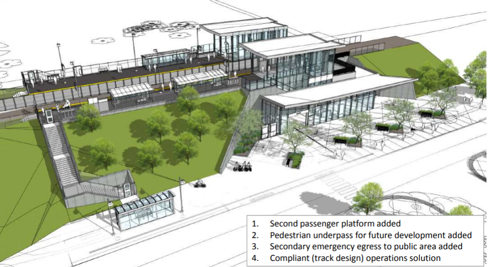 The revised design for Uplands Station on the Trillium Line expansion, addressing technical flaws. (SNC Lavalin via City of Ottawa)