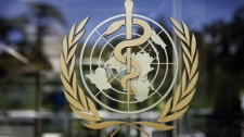 The logo of the World Health Organization is seen at the WHO headquarters in Geneva, Switzerland, Thursday, June 11, 2009. (AP Photo/Anja Niedringhaus)
