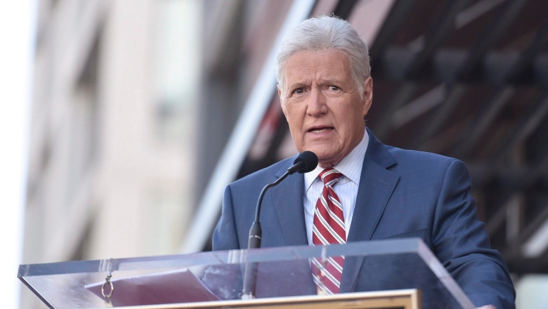 "Alex Trebek speaks at a ceremony honouring Harry Friedman, executive producer of ""Wheel of Fortune"" and ""Jeopardy!"" with a star on the Hollywood Walk of Fame on Friday, Nov. 1, 2019, in Los Angeles. (THE CANADIAN PRESS/Photo by Richard Shotwell/Invision/AP)"
