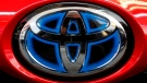 This Feb. 15, 2018, file photo shows the Toyota logo on the trunk of a 2018 Toyota Prius on display at the Pittsburgh Auto Show. (AP Photo/Gene J. Puskar, File)