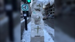 Lions at the entrance to Montreal's Chinatown were vandalized (photo: Louis Le / Facebook)