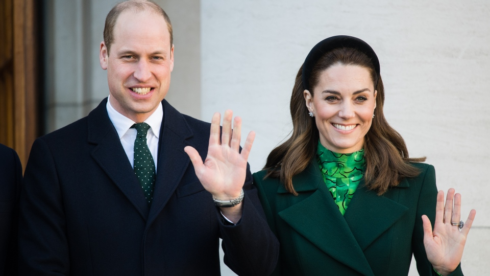 The Duke and Duchess of Cambridge meet Irish Prime Minister Leo Varadkar and his partner, Matthew Barrett, in Dublin on March 3, 2020. (Samir Hussein/WireImage/Getty Images/CNN)