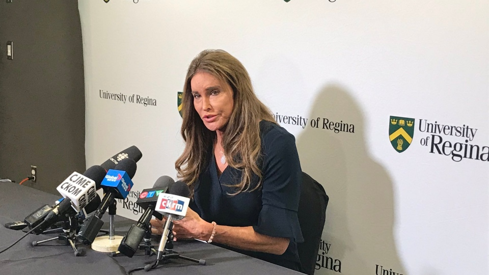 Caitlyn Jenner speaks to reporters ahead of the University of Regina Inspiring Leadership Forum. (Taylor Rattray/CTV News)