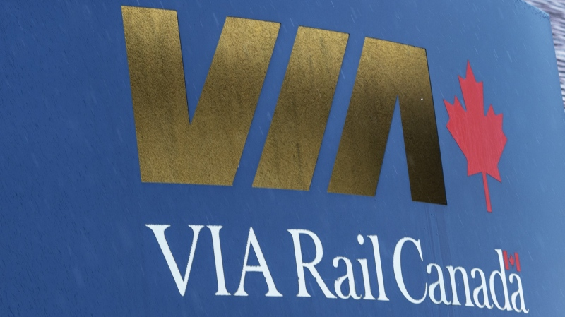 FILE - A Via Rail sign is seen at the Dorval station Tuesday, June 25, 2019 in Montreal. THE CANADIAN PRESS/Ryan Remiorz