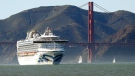 In this Feb. 11, 2020 photo, the Grand Princess cruise ship passes the Golden Gate Bridge as it arrives from Hawaii in San Francisco. (Scott Strazzante/San Francisco Chronicle via AP)