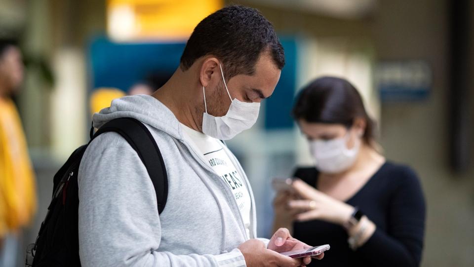 Using cellphone amid coronavirus