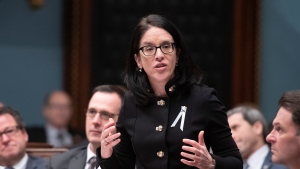 Quebec Justice Minister and Minister Responsible for Canadian Relations and the Canadian Francophonie Sonia Lebel responds to the Opposition during question period, Thursday, December 5, 2019 at the legislature in Quebec City. THE CANADIAN PRESS/Jacques Boissinot