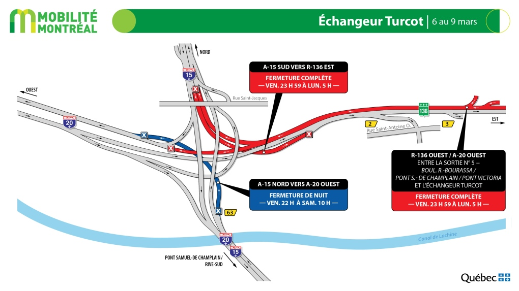 Weekend road closures on the Turcot interchange