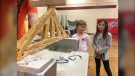 A group of students used pasta to build bridges, as part of the provincial Engineering and Geoscience week. (Source: Glenn Pismenny/CTV News Winnipeg)
