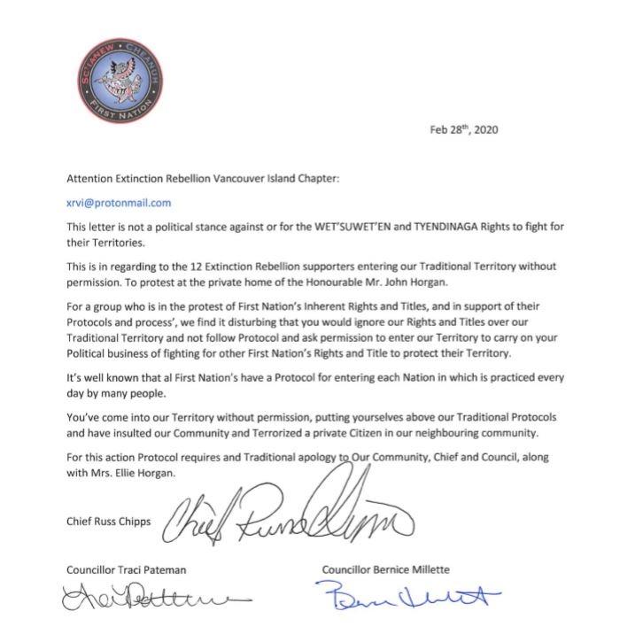 Beecher Bay letter