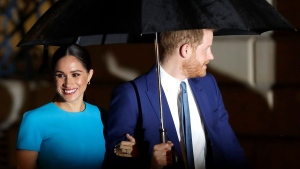 Prince Harry and Meghan, the Duke and Duchess of Sussex arrive at the annual Endeavour Fund Awards in London, Thursday, March 5, 2020. The awards celebrate the achievements of service personnel who were injured in service and have gone on to use sport as part of their recovery and rehabilitation. (AP Photo/Kirsty Wigglesworth)