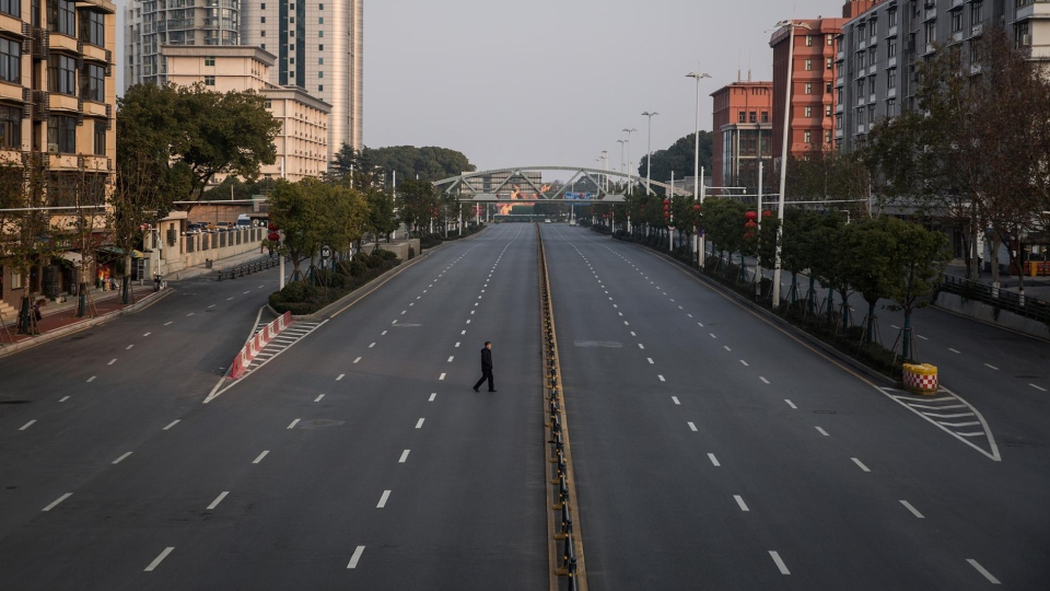 An empty street in Wuhan, China