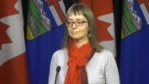 Alberta Chief Medical Officer of Health Dr. Deena Hinshaw speaks to the media, Friday, March 6, 2020.