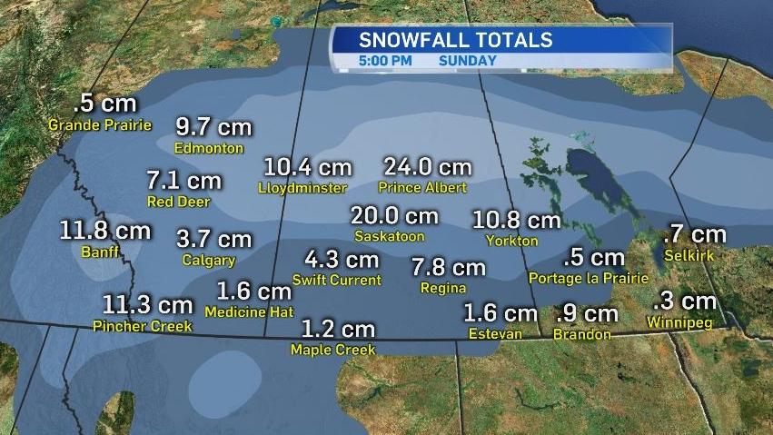 Snowfall totals Sask.