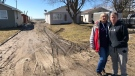 Property owners Deb Vint (left) and Kim Snell on Erie Shore Drive in Chatham-Kent, Ont., on Saturday, March 7, 2020. (Melanie Borrelli / CTV Windsor)
