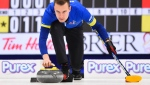 Team Alberta skip Brendan Bottcher takes on Team Saskatchewan in the playoffs at the Brier in Kingston, Ont., on Saturday, March 7, 2020. THE CANADIAN PRESS/Sean Kilpatrick