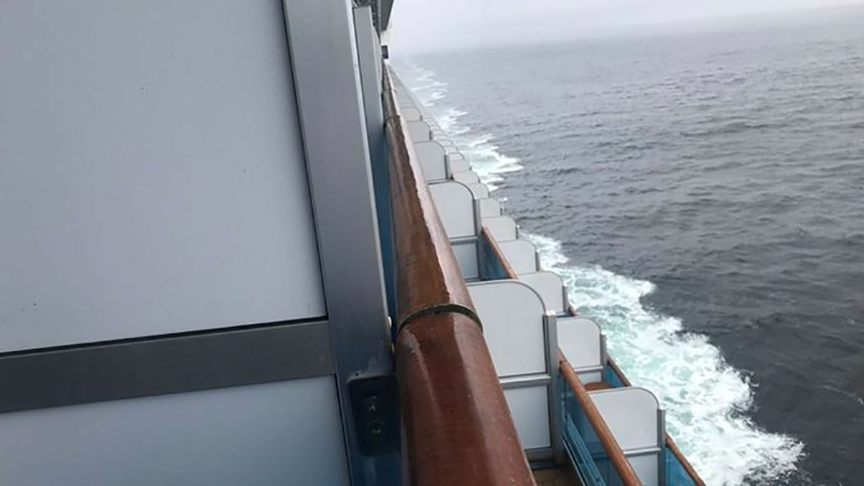 Not all rooms on the Grand Princess have balconies. Anne Lange said the weather has been mostly cloudy, windy and cool. (Anne Lange)