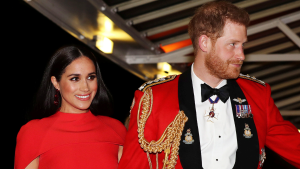 Prince Harry and Meghan, Duchess of Sussex arrive at the Royal Albert Hall in London, Saturday March 7, 2020, to attend the Mountbatten Festival of Music. (Simon Dawson/Pool via AP)