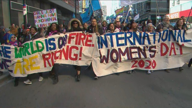 'We are rising': Thousands march in downtown Toronto on International Women's Day