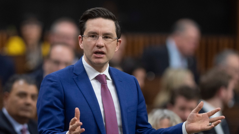 Conservative MP Pierre Poilievre rises during Question Period in the House of Commons Wednesday February 26, 2020 in Ottawa. (THE CANADIAN PRESS/Adrian Wyld)