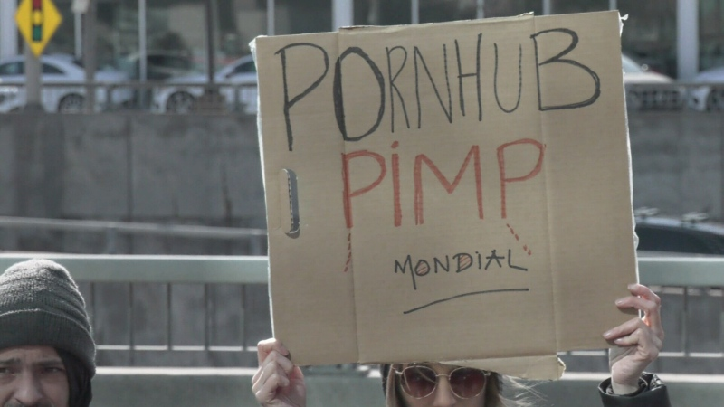 Protesters in Montreal gathered outside the offices of MindGeek, Pornhub's corporate parent, to protest the industry's practices.