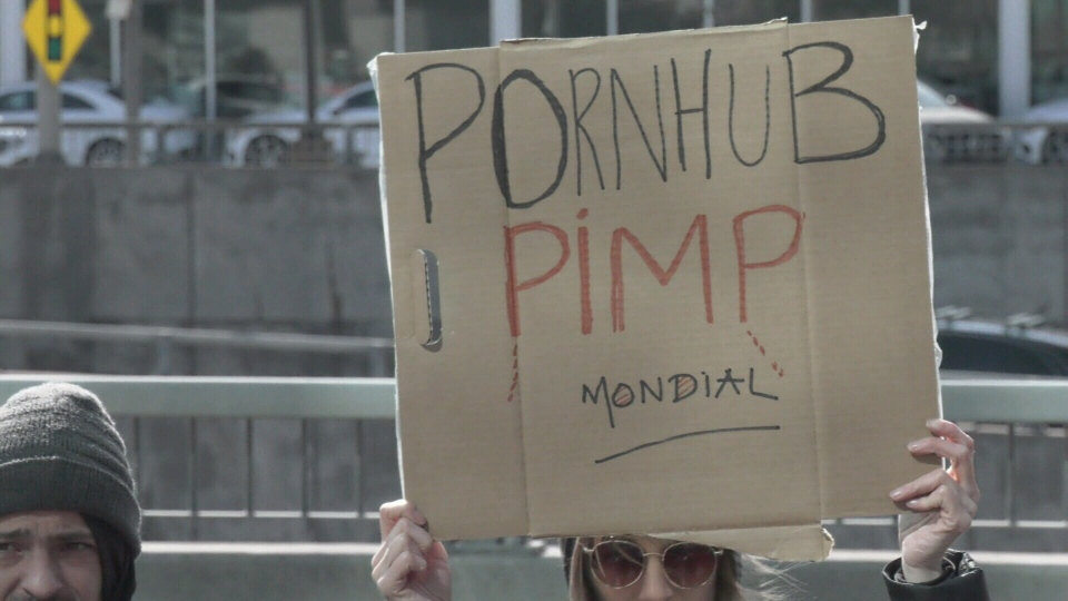 Protesters at Pornhub headquarters