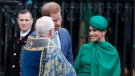Prince Harry and Meghan, Duchess of Sussex leave after attending the annual Commonwealth Day service at Westminster Abbey in London, Monday, March 9, 2020. The annual service organised by the Royal Commonwealth Society, is the largest annual inter-faith gathering in the United Kingdom. (AP Photo/Frank Augstein)
