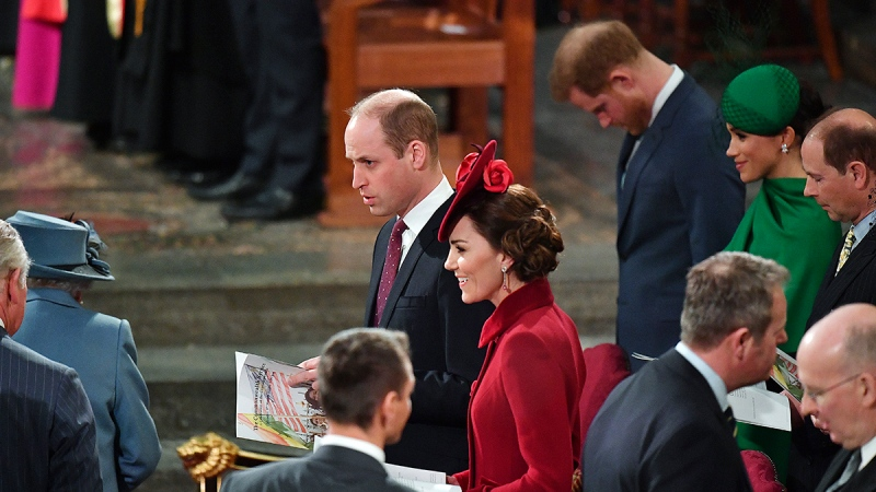 Prince Harry bows his head as the Monarch Queen Elizabeth II and Prince Charles, left, arrive to attend the annual Commonwealth Service at Westminster Abbey in London Monday March 9, 2020. (Phil Harris / Pool via AP)