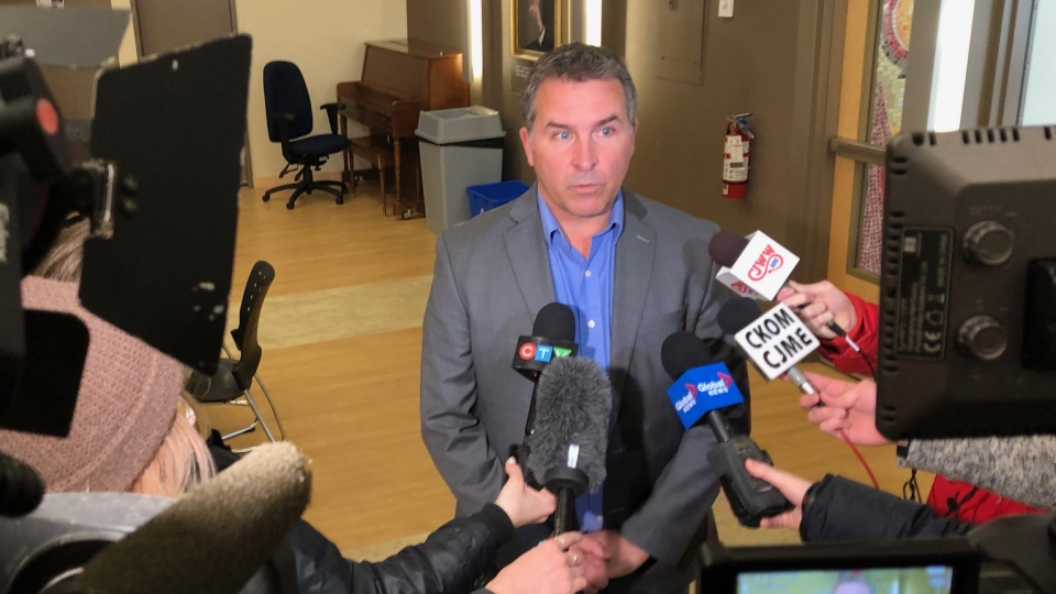 STF President Patrick Maze speaks to reporters in Saskatoon on March 9, 2020. (Chad Hills/CTV Saskatoon)