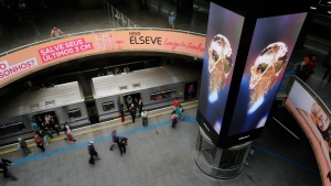 A video showing scenes from the World Cup, the country of Qatar and the official emblem of the FIFA World Cup Qatar 2022, on a big screen in a metro station in Sao Paulo, Brazil, on September 3, 2019. The next step in the host city selection process for the 2026 World Cup takes place Thursday when FIFA representatives meet with the Canadian Soccer Association and representatives from Edmonton, Toronto and Montreal. The travelling FIFA group is holding similar workshops in Mexico City and Dallas around the Toronto visit. THE CANADIAN PRESS/AP, Nelson Antoine