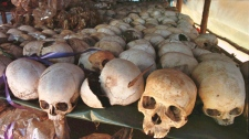 Skulls of Tutsi victims are displayed as a memorial of the April 1994 genocide at a church in Nyamata, Rwanda in 1996. (Paul Chiasson / THE CANADIAN PRESS)