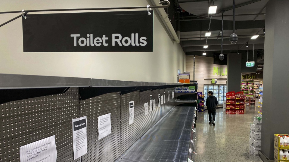 Supermarkets in Australia are largely selling out of toilet paper due to novel coronavirus fears. An Australian newspaper even printed out eight extra pages in a recent edition to serve as emergency toilet paper. (WILLIAM WEST/AFP/Getty Images)