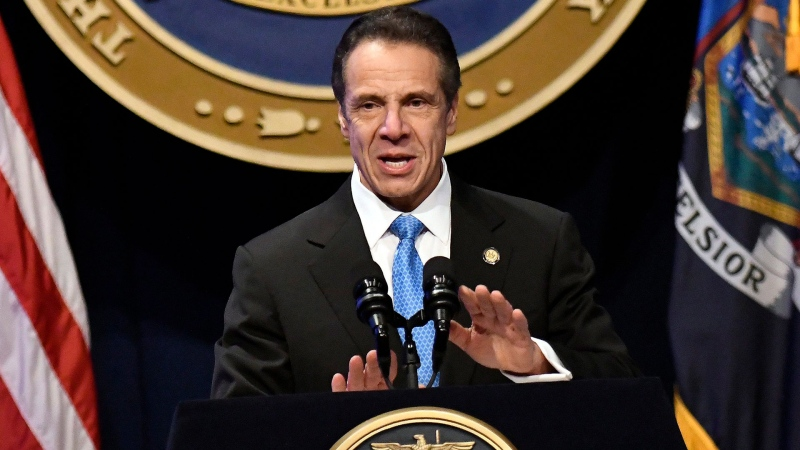 In this Jan. 8, 2020, file photo, New York Gov. Andrew Cuomo delivers his State of the State address at the Empire State Plaza Convention Center, in Albany, N.Y. (AP / Hans Pennink, File)
