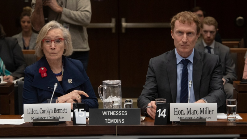 Crown-Indigenous Relations Minister Carolyn Bennett and Indigenous Services Minister Marc Miller wait to appear before the Indigenous and Northern Affairs committee in Ottawa, Tuesday, March 10, 2020. THE CANADIAN PRESS/Adrian Wyld