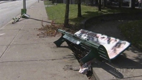 An 83-year-old was critically injured after a sports car careened into the bus stop where he was sitting on Thursday, Sept. 17, 2009 (CTV)