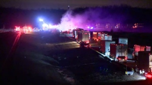 A woman in her 20s is in critical condition following a collision on Highway 30 near Châteauguay.