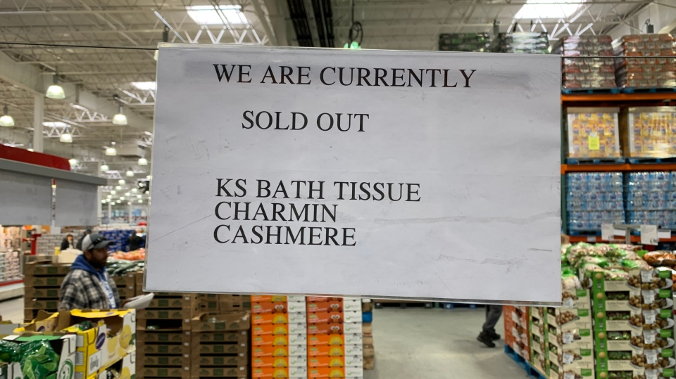 Sign at Sudbury's Costco says three brands of toilet paper has been sold out. Mar. 11/20 (Alex Lamothe/CTV Northern Ontario)