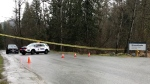 Police tape seen at Minnekhada Regional Park in Coquitlam, B.C. on March 10, 2020.