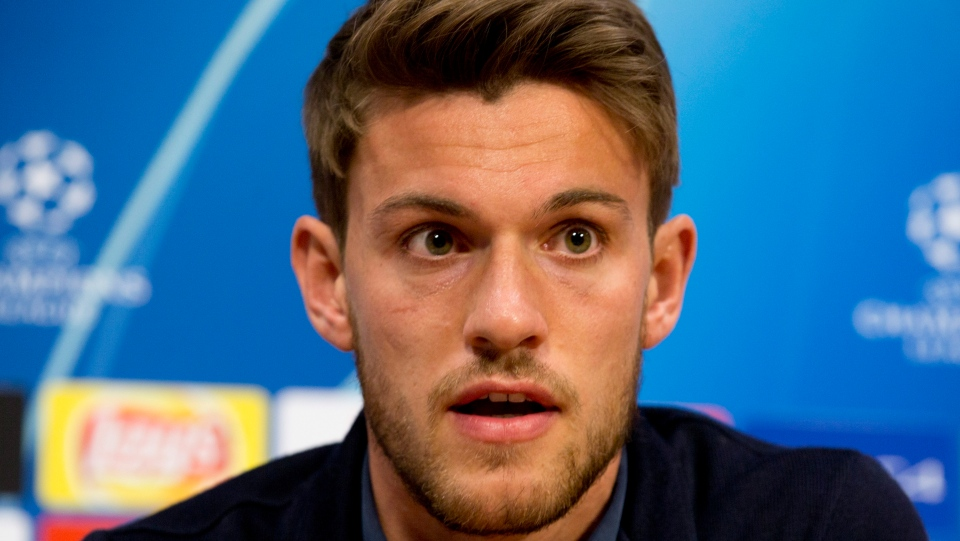 In this April 9, 2019, file photo, Juventus' Daniele Rugani answers questions during a press conference at the Johan Cruyff ArenA in Amsterdam, Netherlands. (AP Photo/Peter Dejong, File)