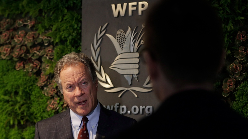 David Beasley, the new executive director of the World Food Programme, speaks to The Associated Press during an interview in Rome, Thursday, Dec. 6, 2018. (AP Photo/Gregorio Borgia)