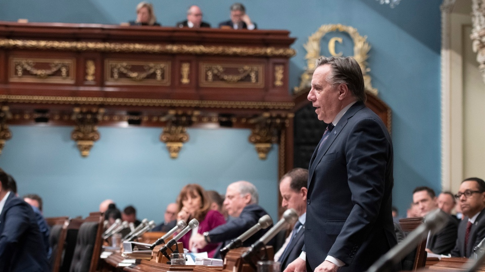 Quebec Premier Francois Legault responds to Opposition questions on the coronavirus, Thursday, March 12, 2020 at the legislature in Quebec City. THE CANADIAN PRESS/Jacques Boissinot