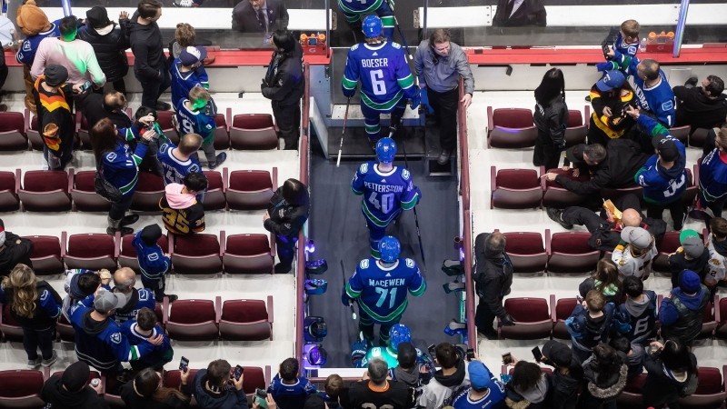 Vancouver Canucks' Brock Boeser (6), Elias Pettersson (40), of Sweden, and Zack MacEwan (71) walk out onto the ice for a pre-game skate as security guards keep fans back to limit direct contact with players due to concerns about COVID-19, before an NHL hockey game against the New York Islanders in Vancouver on Tuesday, March 10, 2020. THE CANADIAN PRESS/Darryl Dyck