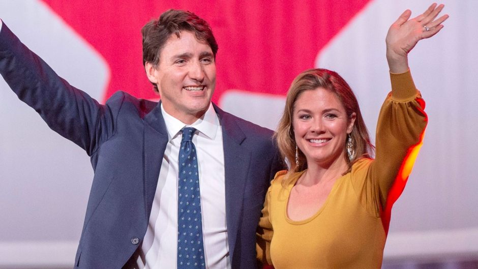 Prime Minister Justin Trudeau celebrates with his wife, Sophie Gregoire Trudeau, after winning a minority government at the election night headquarters Tuesday, October 22, 2019 in Montreal.THE CANADIAN PRESS/Ryan Remiorz
