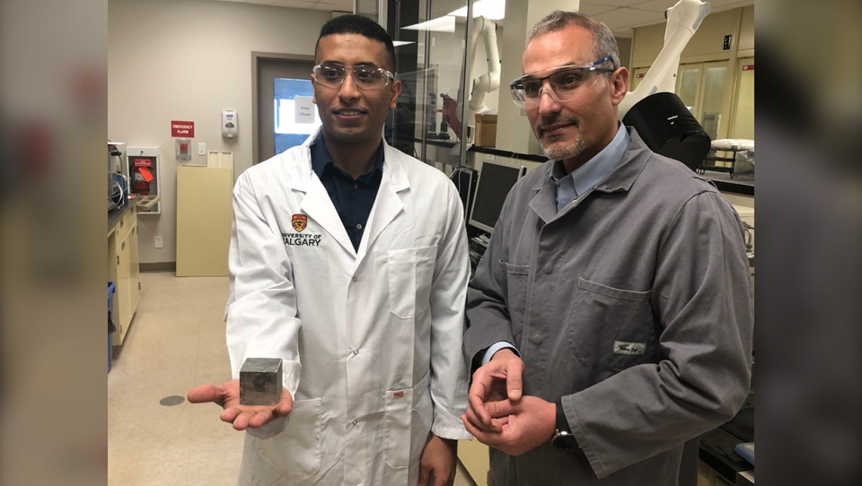 Doctoral student Ahmed Mahairi and U of C professor Maen Husein are creating better concrete by adding microscopic nanoparticles to the mix