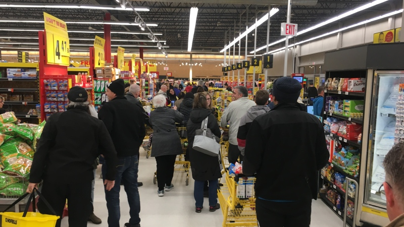 People flood the No Frills in southwest London, Ont. on Thursday, March 12, 2020. (Celine Zadorsky / CTV London)