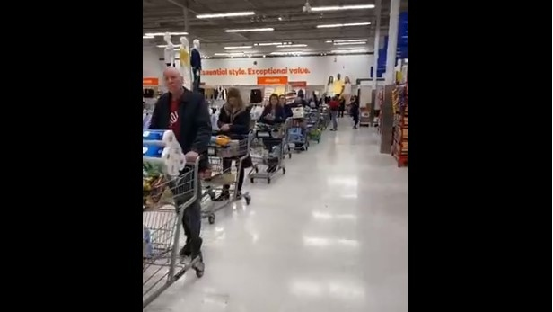 Long lines at Superstore on Dougall Ave., in Windsor on Thursday, March 13, 2020. (Leo Lucier / Facebook)