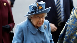 Queen Elizabeth II arrives to attend the annual Commonwealth Day service at Westminster Abbey in London, Monday, March 9, 2020. (AP Photo/Kirsty Wigglesworth)