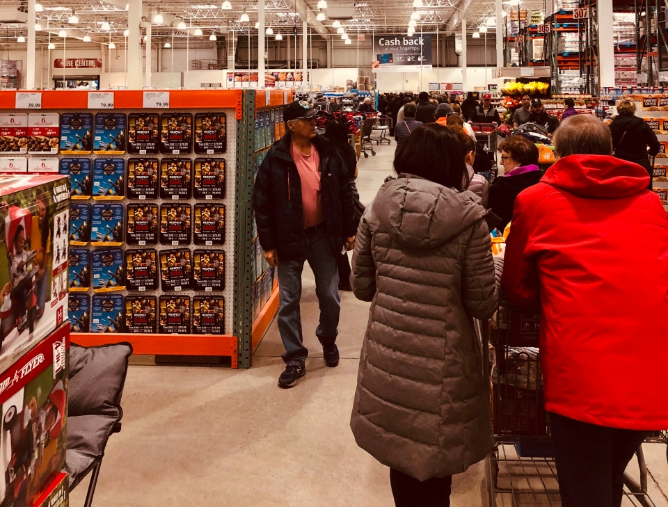 Costco Sudbury checkout line backed up to deli