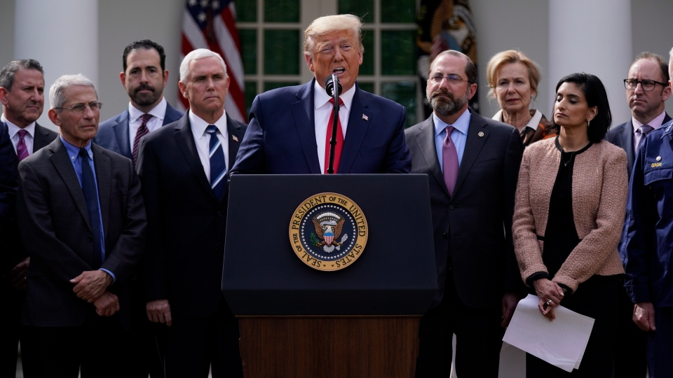 In this file photo, U.S. President Donald Trump speaks during a news conference about the coronavirus in the Rose Garden of the White House, Friday, March 13, 2020, in Washington. (AP Photo/Evan Vucci)